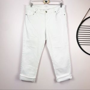 LOFT Modern Cuffed Crop Straight Leg White Jeans